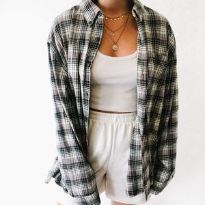 Vintage Oversized Button Up Flannel Gray